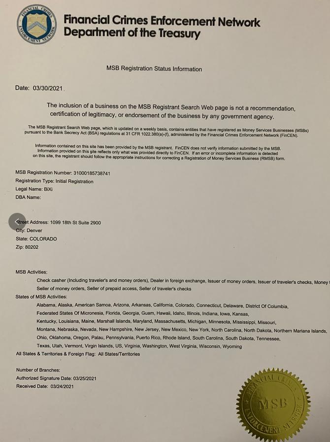 Bixi数字货币交易所荣获美国MSB牌照